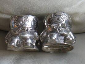 Pair - EGG CUPS - ' HUMPTY DUMPTY' design, silver colour, good condition