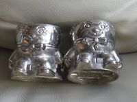 "Pair - ' Humpty Dumpty ' design EGG CUPS, silver colour - 25"" x 2.5"" unique and unusual, g.c."