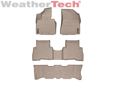 WeatherTech Floor Mats FloorLiner for Kia Sorento w/ 3rd Row - 2014-2015 - Tan