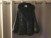 Mackage for sale! BLACK LEATHER DOWN COAT WITH FUR HOOD