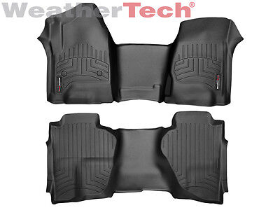 (WeatherTech Floor Liner for Silverado/Sierra Double Cab - 1st & 2nd Row - Black)