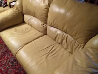 Real Mustard Leather Set/ 2 Seater Sofa & two Armchairs