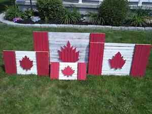 Handcrafted Norfolk County Tobacco Stick Canadian Flags
