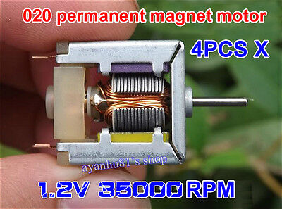 4pcs Dc 1.2v 35000rpm Low Voltage High Speed 020 Permanent Magnet Small Motor Hm