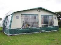 Isabella capri awning green with curtains and fiberglass poles and skirts and curtains