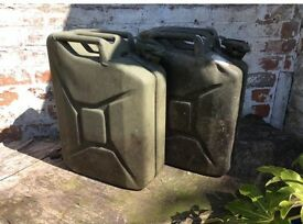 Pair of Vintage Green Jerry Cans, fabulous for display