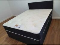LEATHER DIVANS WITH MATTRESS AND HEADBOARD