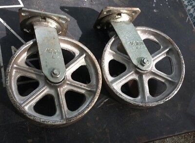 2 Albion Swivel Plate Casters 8 X 2 Cast Iron Wheel Pair Set Industrial Cart