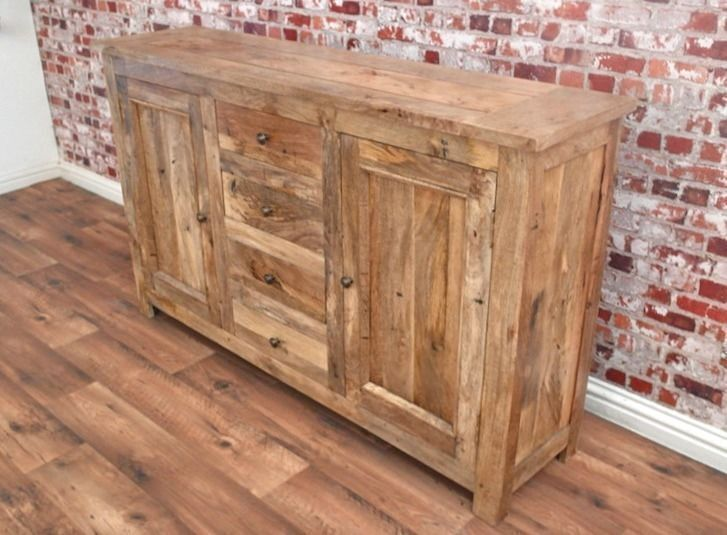 Natural Tropical Hardwood Sideboard Cupboard Drawers Dining Room Storage Unit Hutch