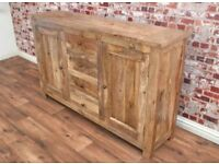 Natural Tropical Hardwood Sideboard Cupboard Drawers Dining Room Storage Unit / Hutch