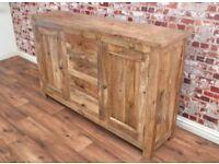 Natural Hardwood Sideboard Cupboard Drawers Dining Room Rustic Storage Unit