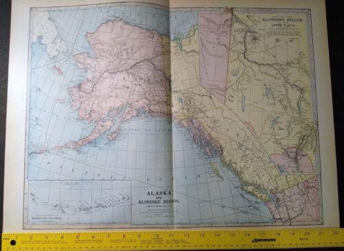 1904 ALASKA TERRITORY Monarch Standard Atlas Map 16 inch x 22  Color M73