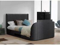 kingsize brown leather tv bed frame