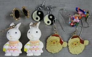 Lot-of-5-Pierced-Earrings-Bunny-Rabbit-Santa-Neat-Group