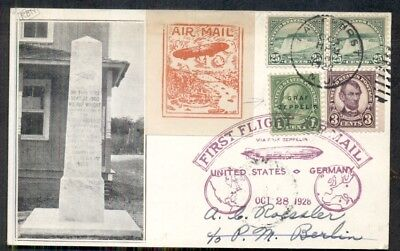 (US 1928, First Flight Zeppelin to Germany on Wright Bros. Memorial card)