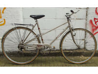 Vintage racing ladies bike RALEIGH frame size 20in - 5 speed , BROOKS saddle , serviced WARRANTY