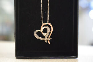 Silver & 10K Rose Gold Heart Necklace W/ Canadian Diamond (#2390