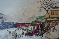 WOW ! - Art populaire (Train) - Huile sur toile 18x24
