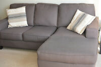 Comfortable Sectional (Sofa and Chaise) with Designer Pillows