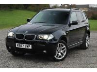 BMW X3 2.0D M-SPORT 4X4 SUV-63,345 Miles-NEW TURBO, Black, Manual, Diesel, 2007
