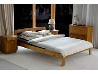 Wooden Bed 140x200cm Large Double Solid Frame Couple Pinewood Oak