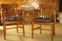 Two Solid wood arm chairs (one Maple, one Oak)
