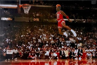 "😎😎 MICHAEL JORDAN Dunk From Foul Line Poster 36"" x 24""  FREE US SHIP 50700"