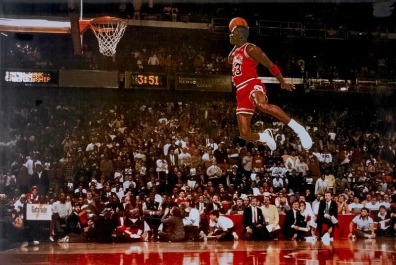 "😎😎 MICHAEL JORDAN Dunk From Foul Line Poster 36"" x 24""  50700  FREE US SHIP"