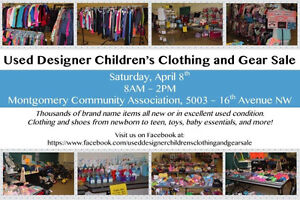 Used Designer Children's Clothing & Gear Sale, April 8th, 8-2pm