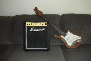 UNIQUE AND BEAUTIFUL HANDCRAFTED GUITAR WITH MARSHALL AMP