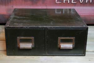 Antique Metal Army Green Cubbie Two Drawer File Cabinet