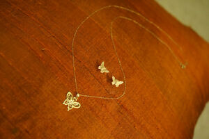 14k gold coated butterfly earrings and necklace set