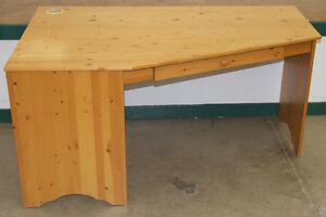 Solid Knotty Pine Corner Desk with Sliding Keyboard Tray