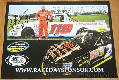 2014 Tim Viens signed Race Day Sponsor Chevy Ford NASCAR CWTS ARCA postcard