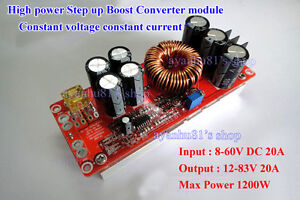 1200W DC-DC Boost Wandler Power Supply 8-60V 12V Step up to 12-83V 24V 48V 20A
