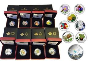 Lot of 8 Canadian Fine Silver Coins with Venetian Glass Element.