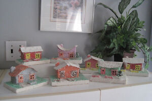 Vtg  maison de village de Noel Mica Lot de 7  Christmas Village