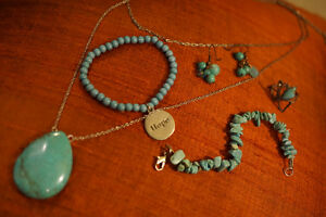 Three sets of turquoise design accessories
