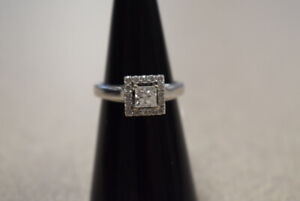 Lady's 14kt White Gold Cluster Style Engagement Ring