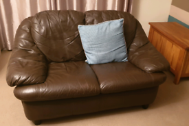 Brown leather 3 + 2 seater sofa and footstool FREE