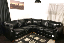 ; Dfs new ex display black real leather corner sofa