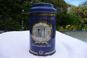 JACKSONS OF PICCADILLY CORONATION TEA TIN / ENGLAND