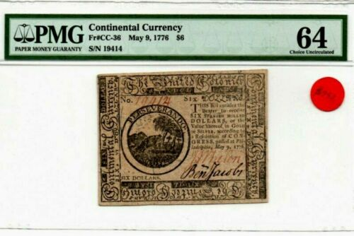MAY 9, 1776 $6 Continental Currency PMG CHOICE UNCIRCULATED 64  Fr #CC-36
