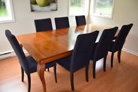 Dining table and 8 chairs.