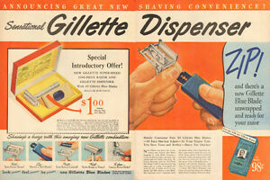 1948 original large 2-page, color print ad for Gillette Razors