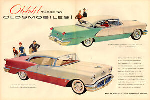 1955 2-page (20 x 13 ¾ ) magazine ad for 1956 Oldsmobiles