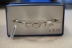 Crescent Gold & Diamonds Brand, Silver 925 Bangle (#279)