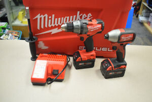 Milwaukee 2 Tool Combo Kit, Drill/Impact/5.0 Batteries/Charger