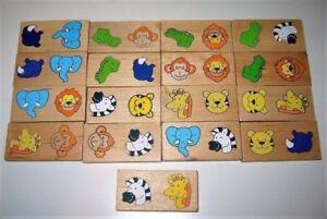 Jeu en bois: Tuiles de domino des animaux 3$