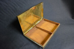 1930-50s brass wood lined Indian cigarette box